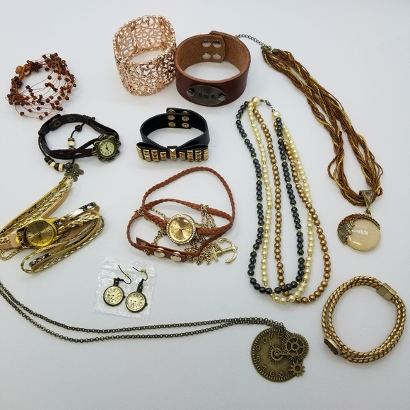 Steampunk Jewelry Lot Watches Bracelets Necklaces